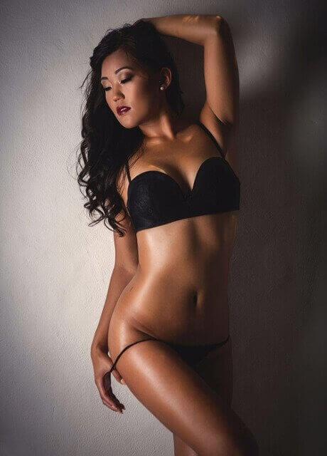 black lingerie model shoot