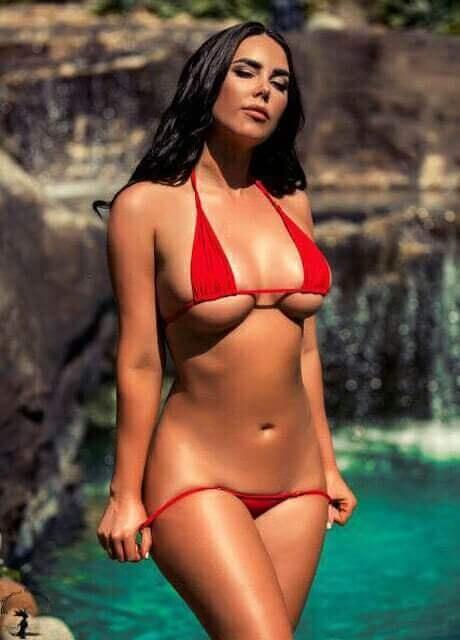 red bikini model