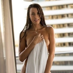 naked girl with towel