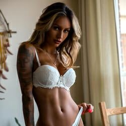 tanned model brazil white lingerie