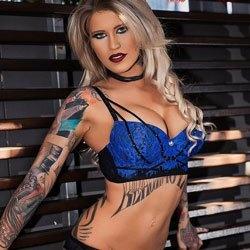 blue bra blonde haired girl