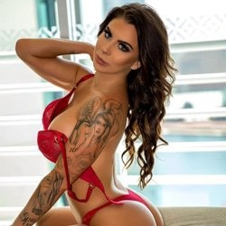 girl red bra medium dark hair