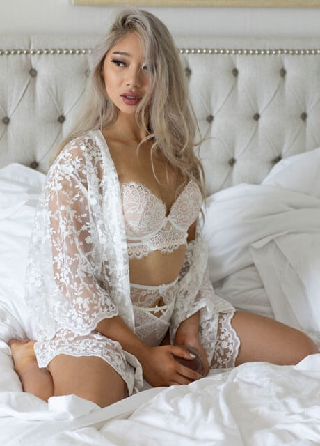 sexy blonde asian on bed